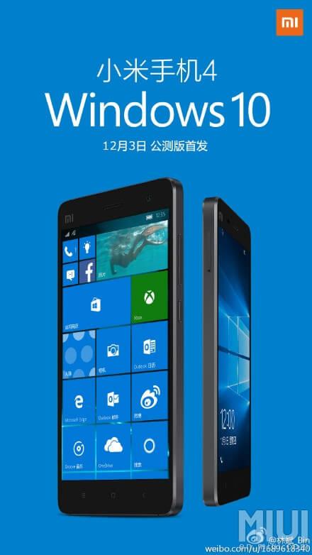 Windows 10 Mobile Mi 4 için geliyor